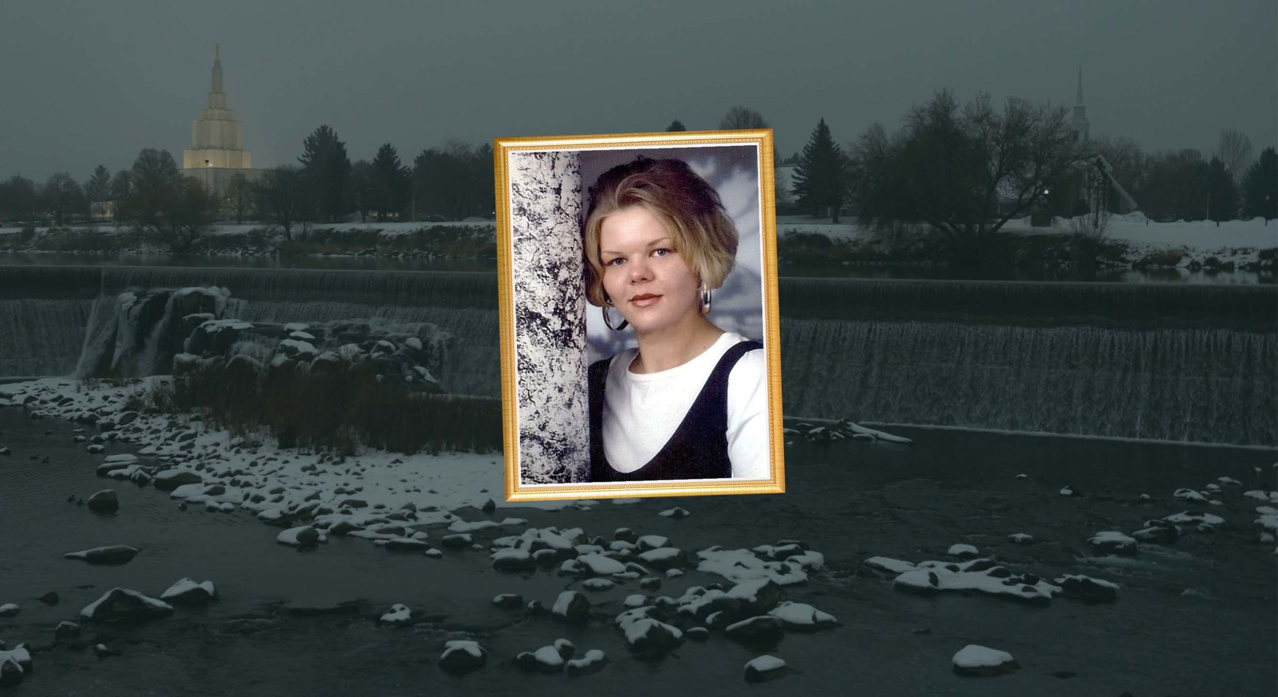 Framed photograph of blonde girl with short hair against grey backdrop