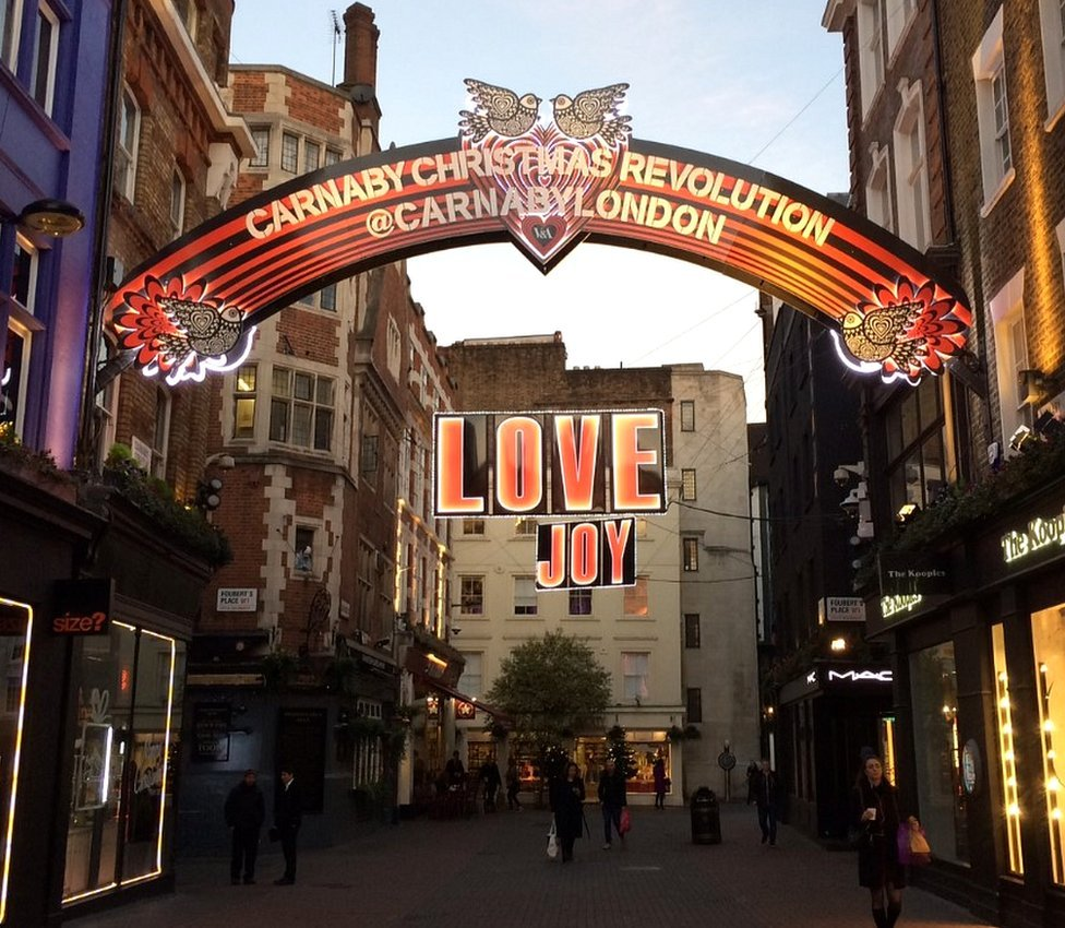 Christmas decorations above Carnaby Street in 2016
