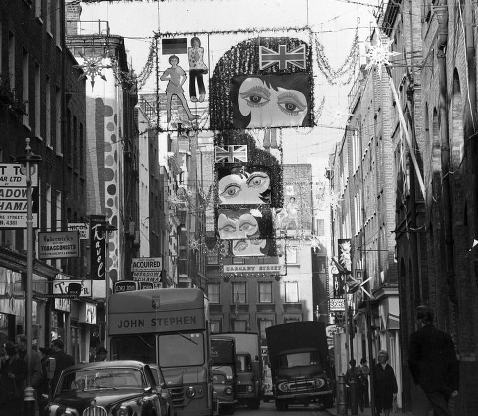 Christmas decorations above Carnaby Street in 1967