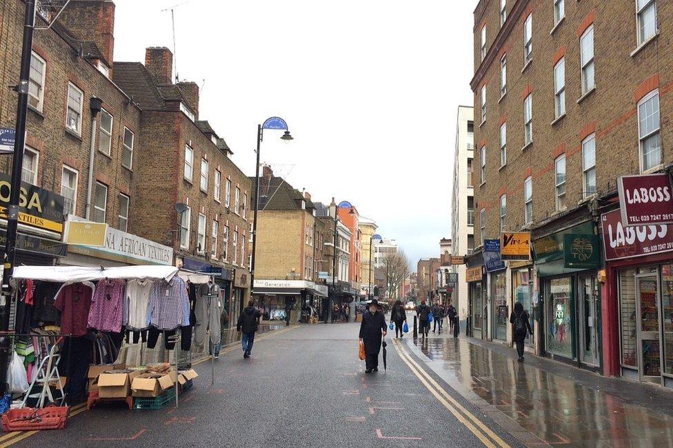 Shoppers in Petticoat Lane Market in 2016