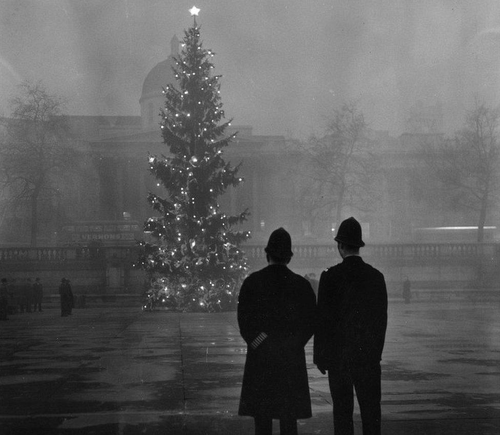 Policemen overlook the Norwegian Trafalgar Square Christmas tree in 1948