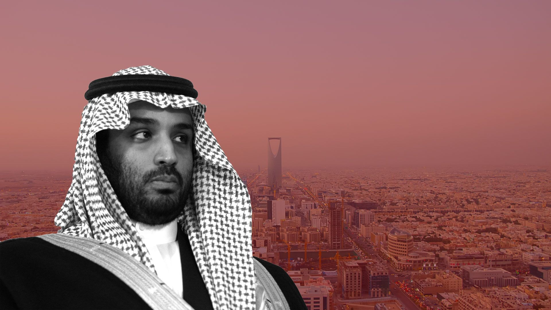 Mohammed Bin Salman over a filtered photo of Riyadh