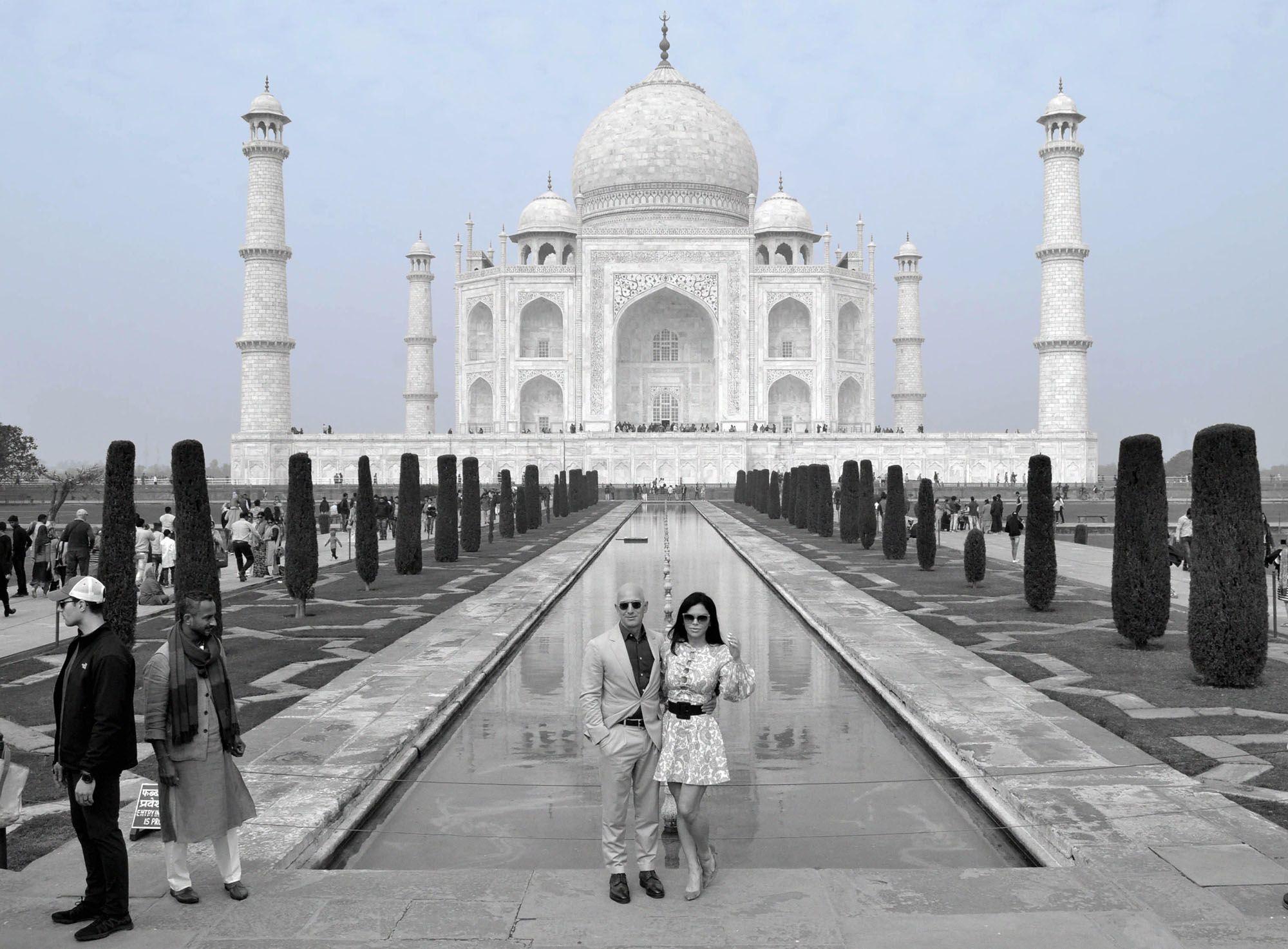 Jeff Bezos and Lauren Sanchez outside Taj Mahal