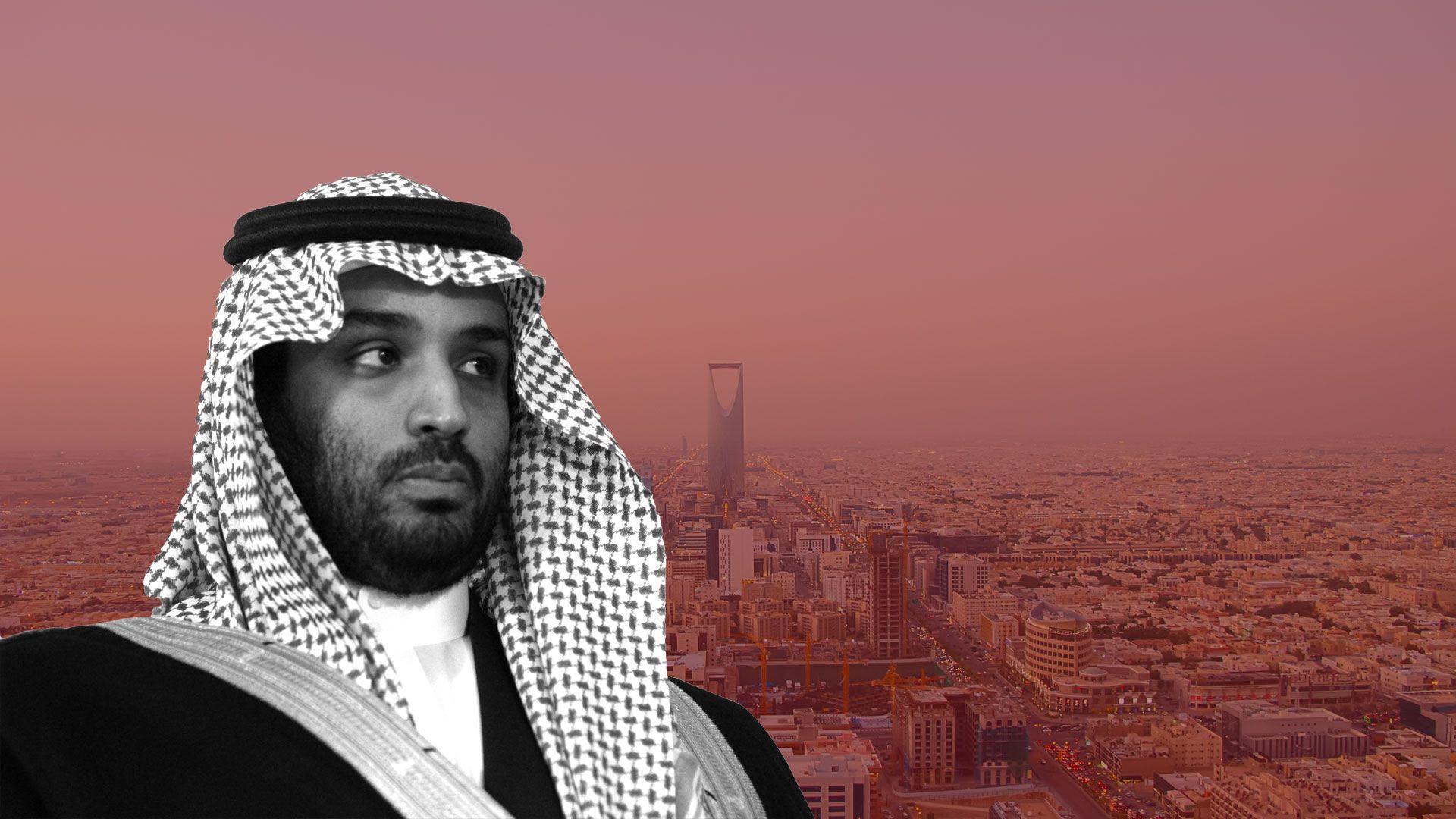 Mohammed Bin Salman over a filtered photo of Riyadh
