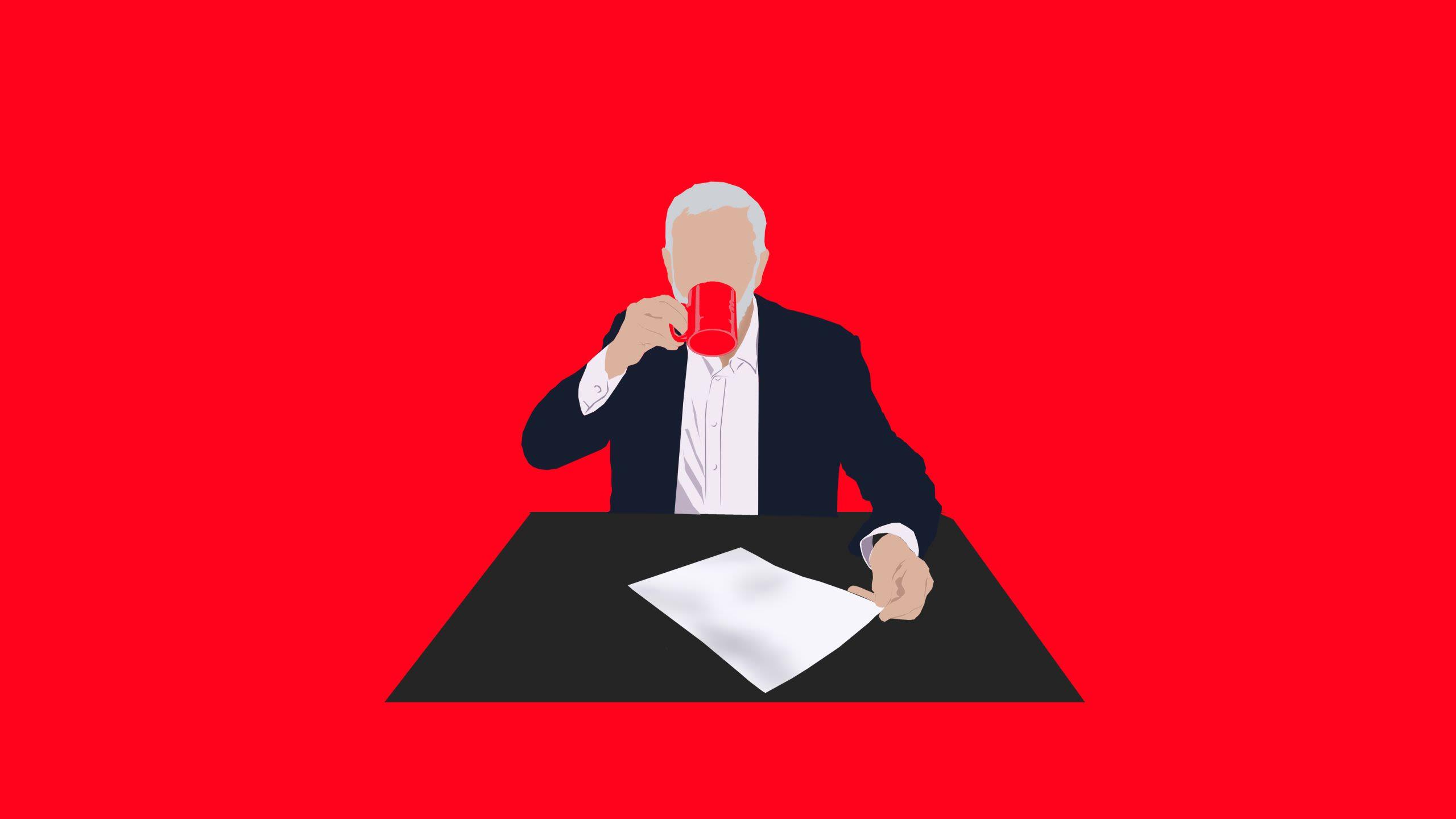 Illustration of Jeremy Corbyn drinking tea