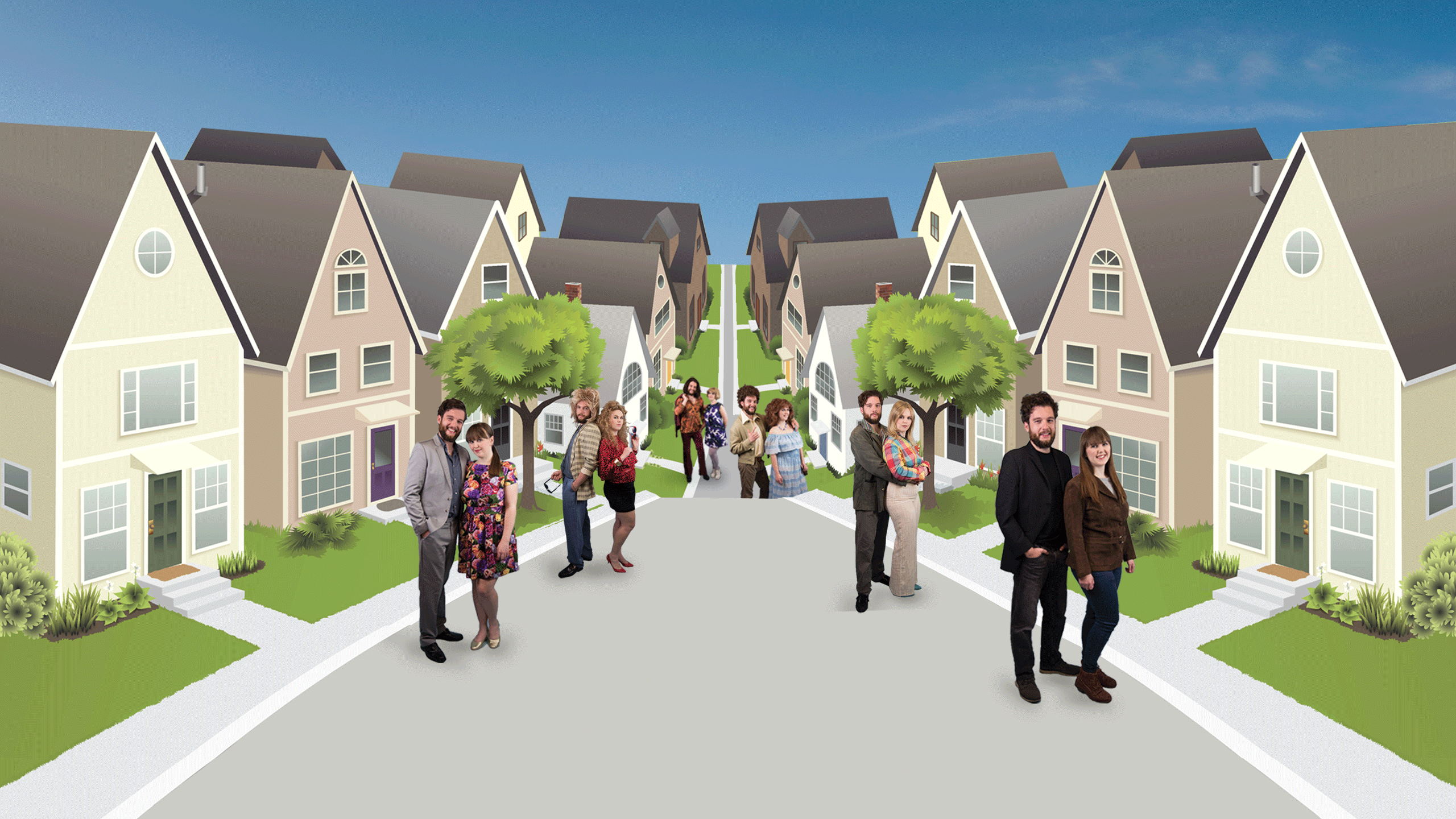 Opening image - street of houses and our couple in various fashion styles from the 1960s to present day