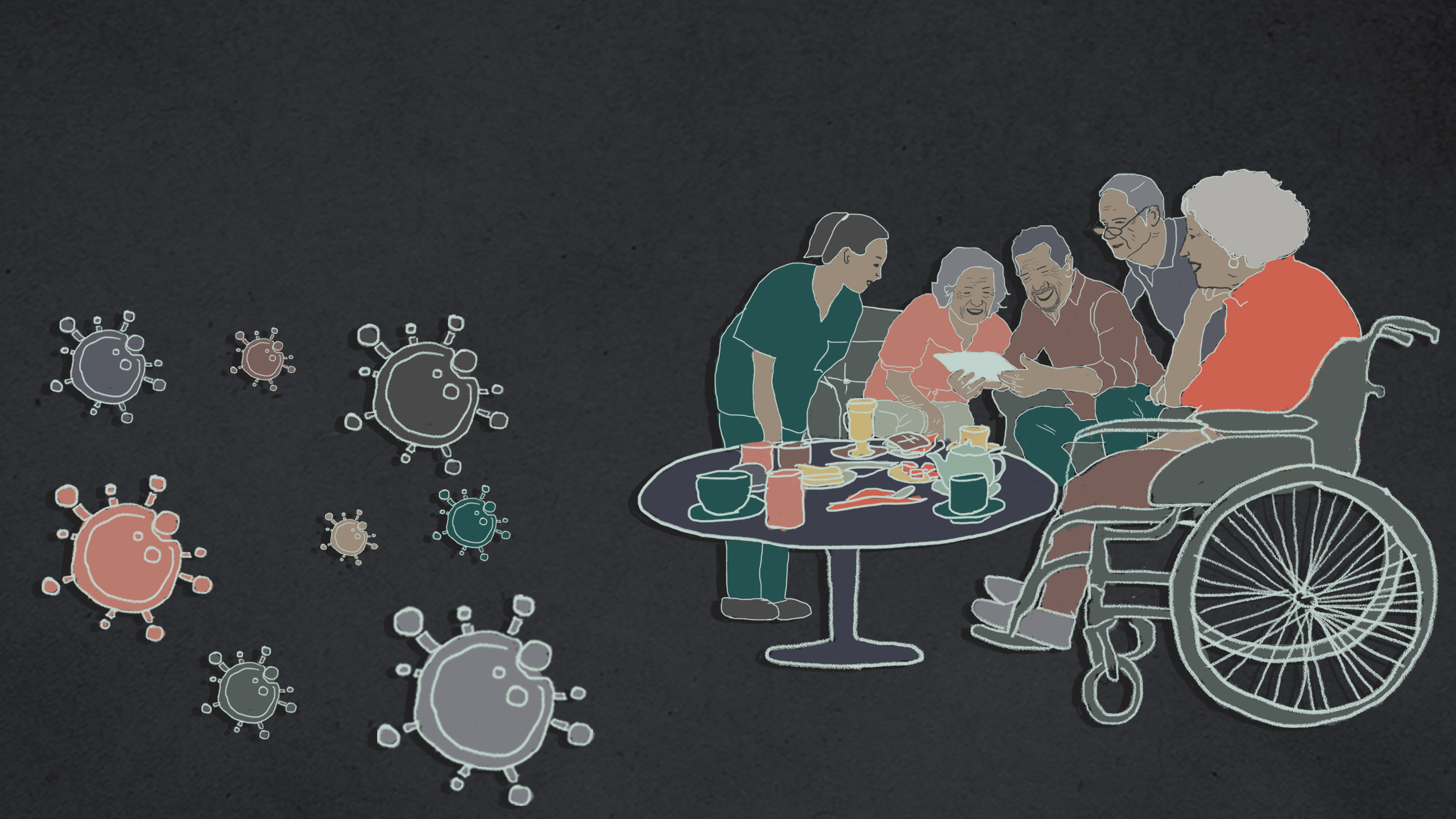 Artist impression of care home residents and floating coronavirus