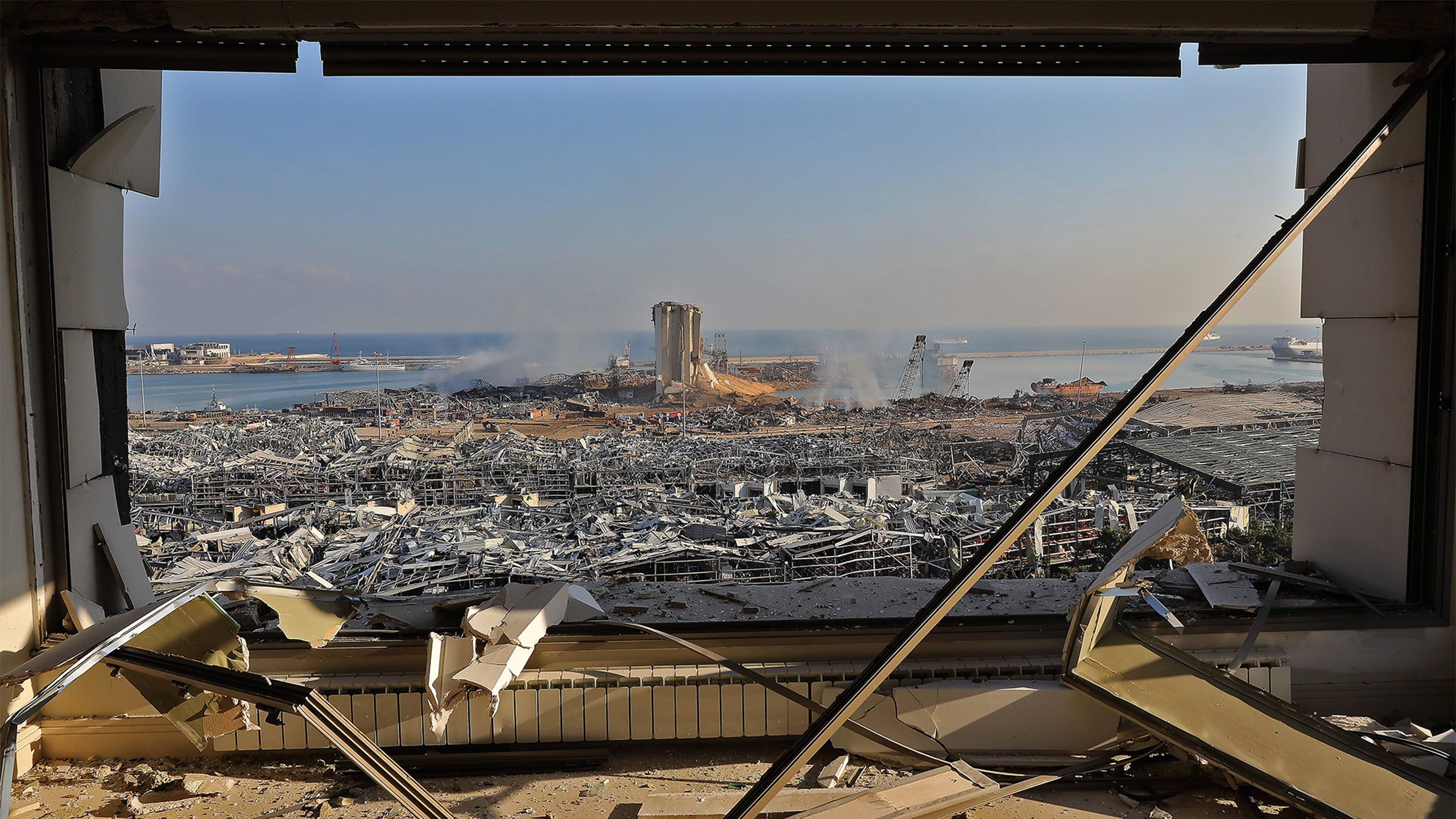 The aftermath of blast at the port of Lebanon's capital Beirut