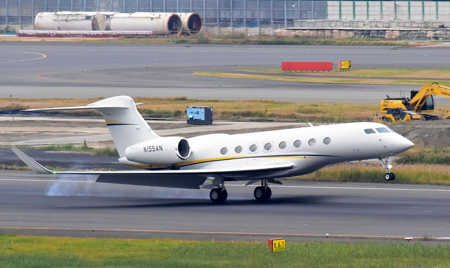 A Nissan owned Gulfstream G550 - Private jet (N155AN) is seen arriving at Haneda Airport on November 19, 2018 in Tokyo, Japan.