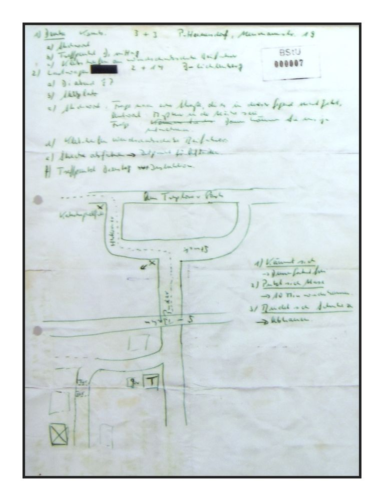 Добытая Зигфридом Узе карта с расположением первого туннеля