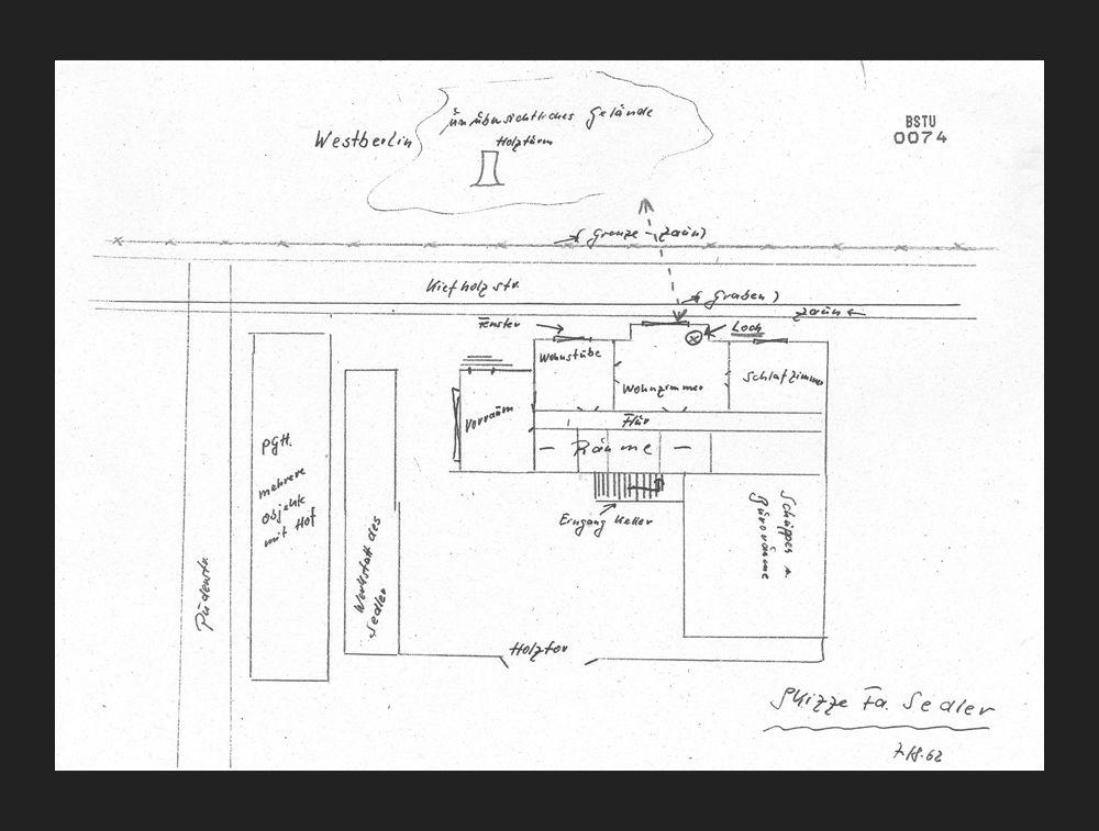 Схема дома и прилегающей местности для первого туннеля