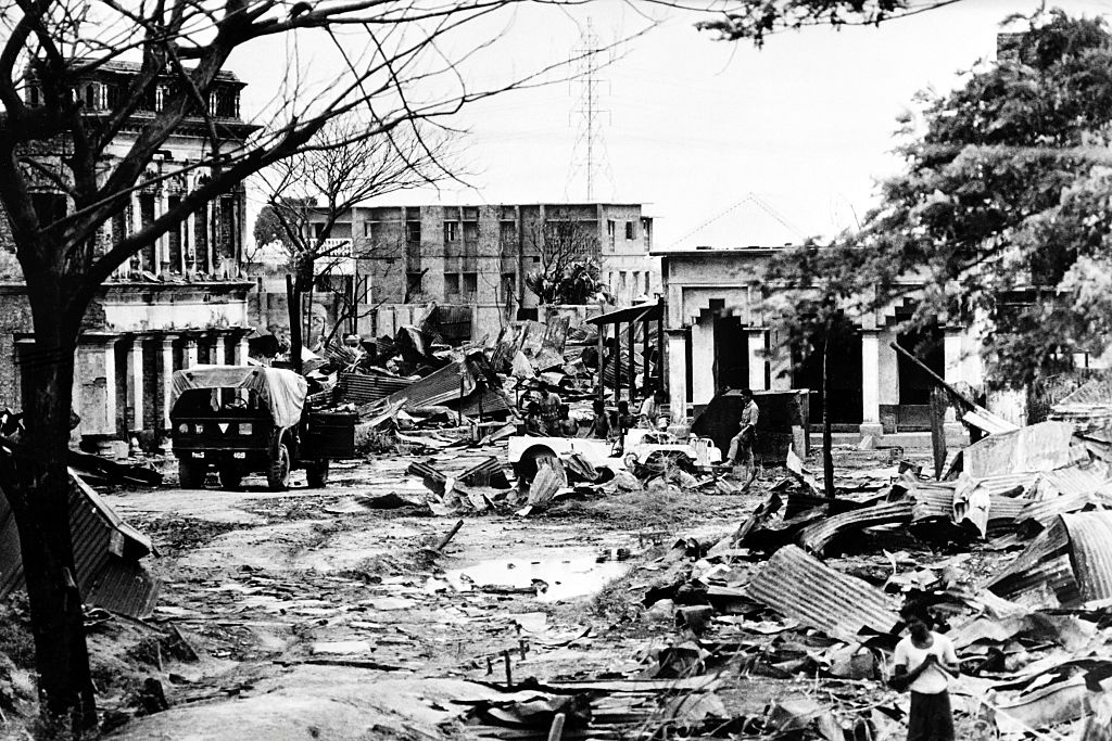 Destroyed streets of Madhabpur during the Independence War of Bangladesh in1971.