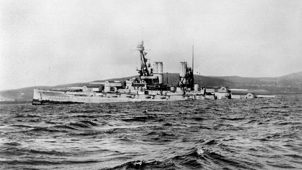 The battleship Bayern sinking by the stern