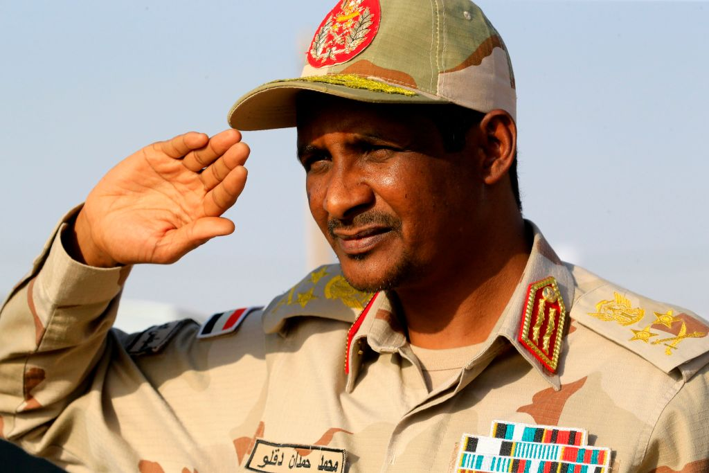 Hemeti gives a military salute in the village of Qarri, about 90km north of Khartoum, on 15 June  2019