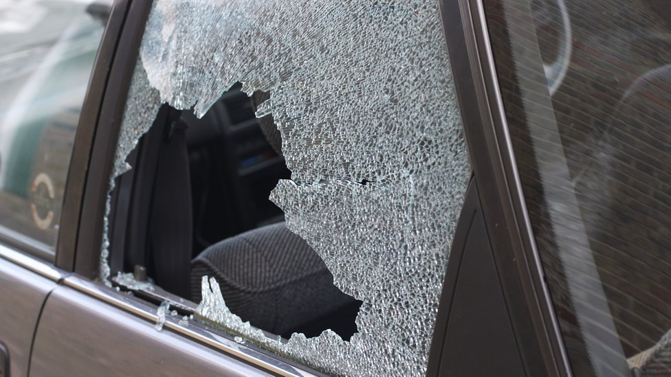 Car with smashed window