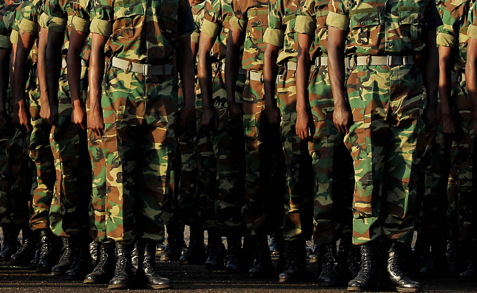 Unidentified Ethiopian army soldiers standing to attention