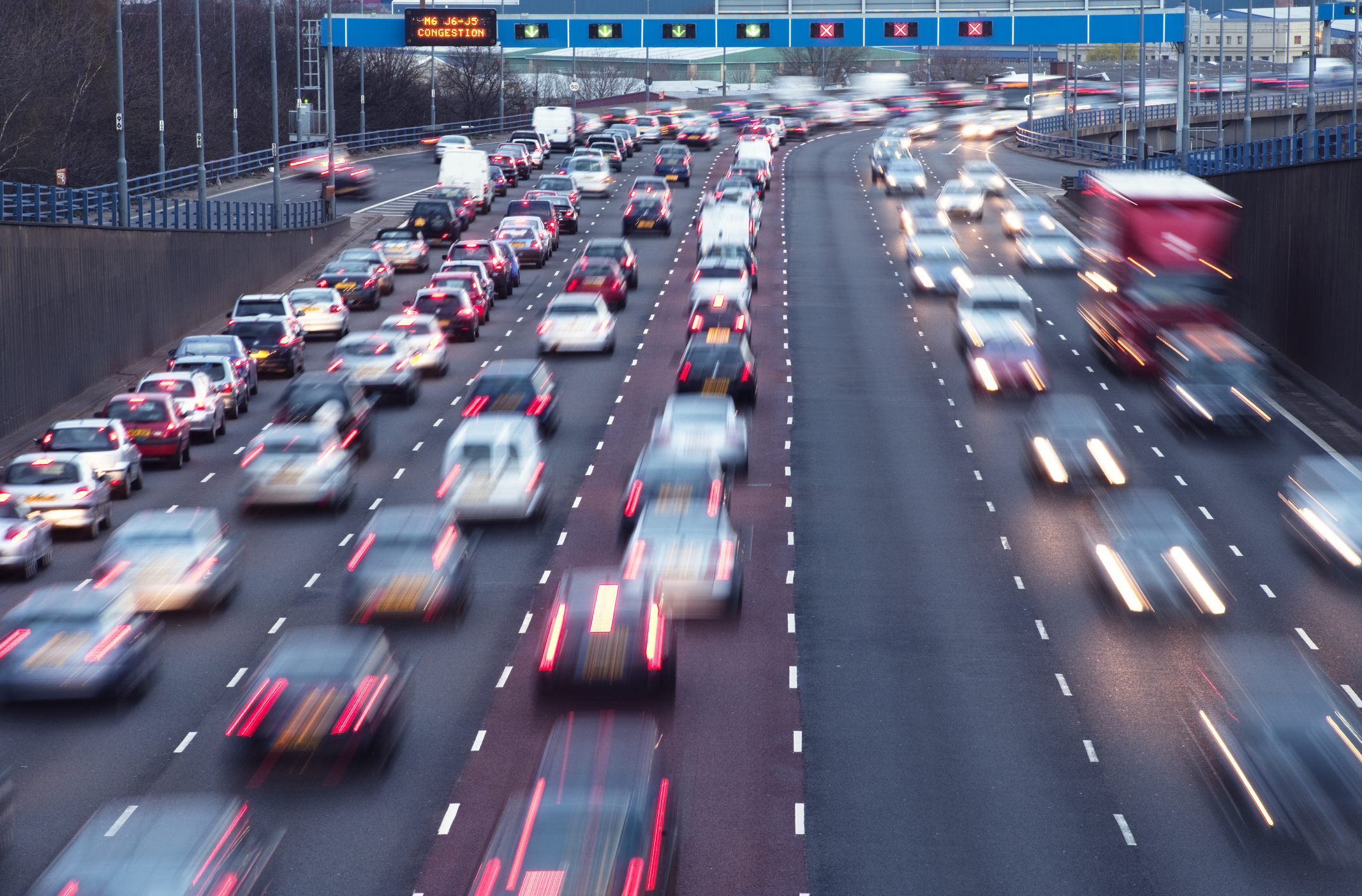 Traffic on urban motorway in Birmingham