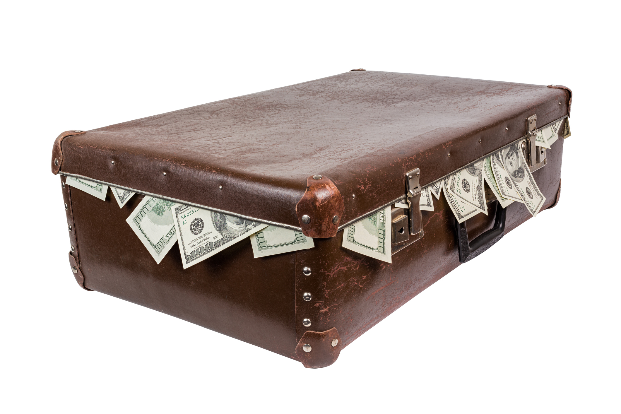 Suitcase full of dollar notes.