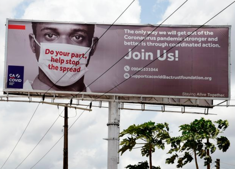 A coronavirus billboard in Lagos, Nigeria - pictured in April 2020