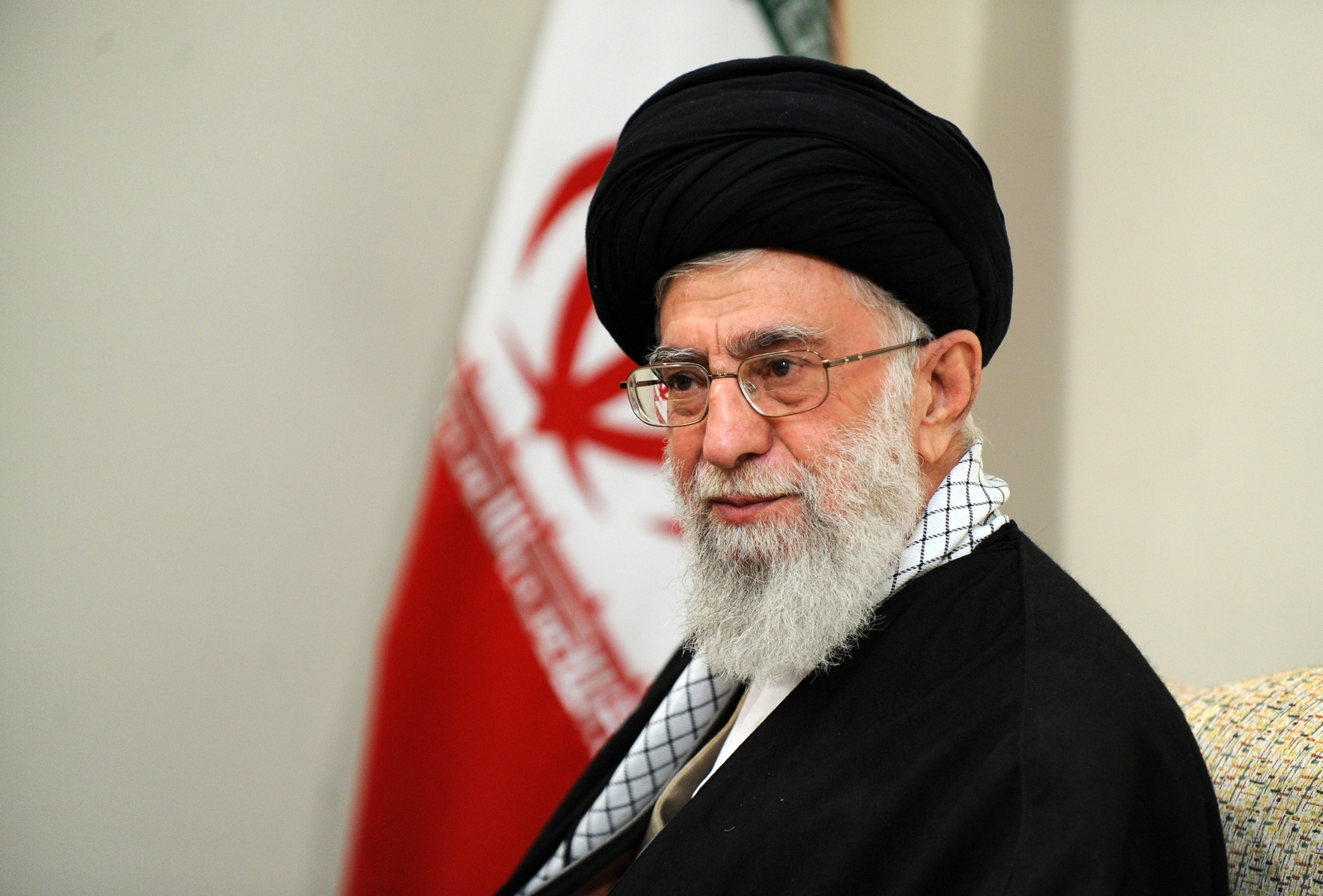 Ali Khamenei pictured during a meeting with Afghanistan's President Ashraf Ghani in April 2015.