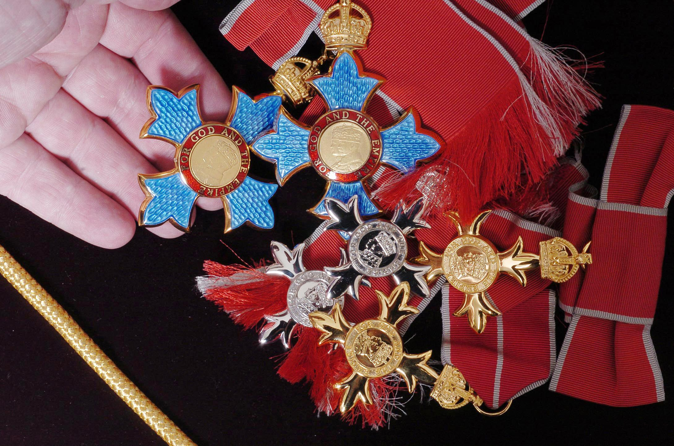 OBE, CBE and MBE medals