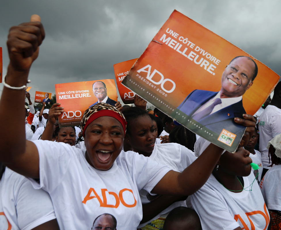 Supporters of President Alassane Ouattara cheering in Ivory Coast