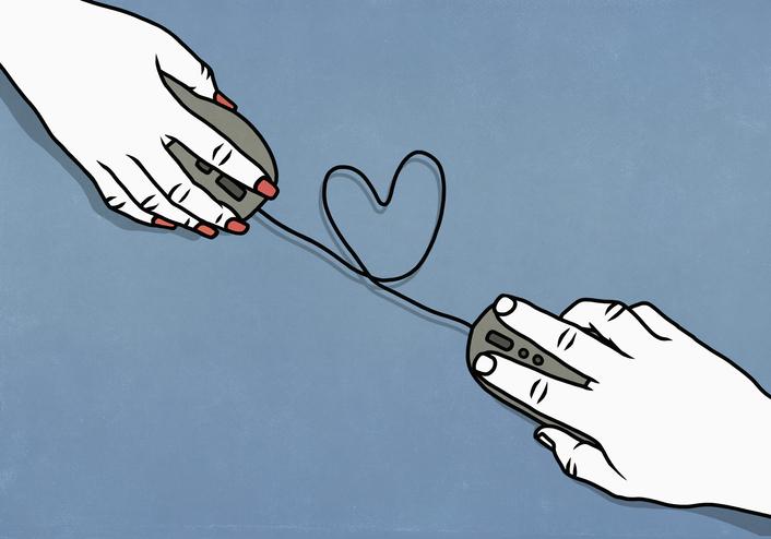Dibujo de dos manos con un mouse y un cable que froma un corazón