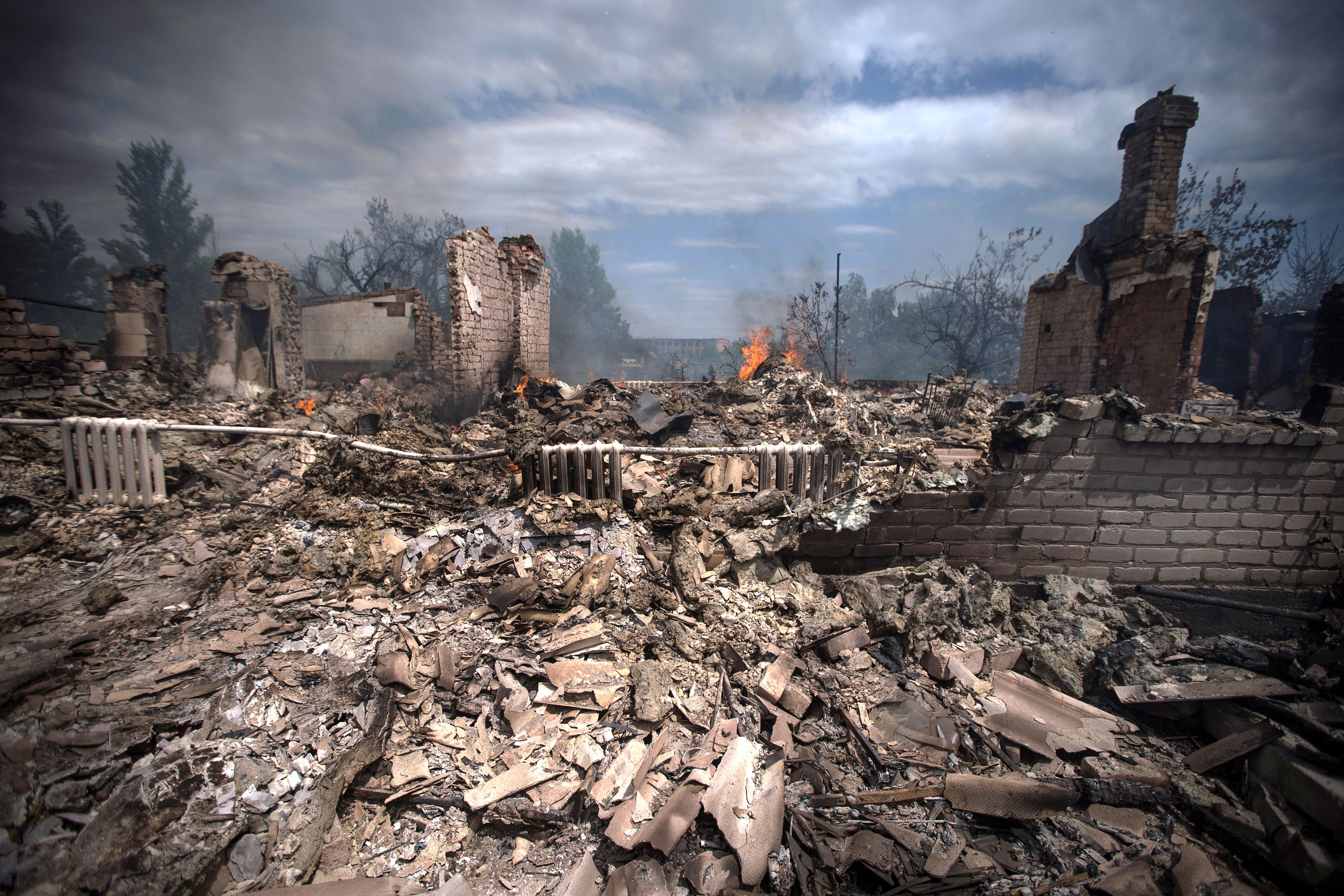 A destroyed house in Stanytsia Luhanska, eastern Ukraine. File photo