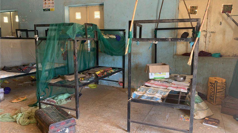 An abandoned bunker bed in Kankara school