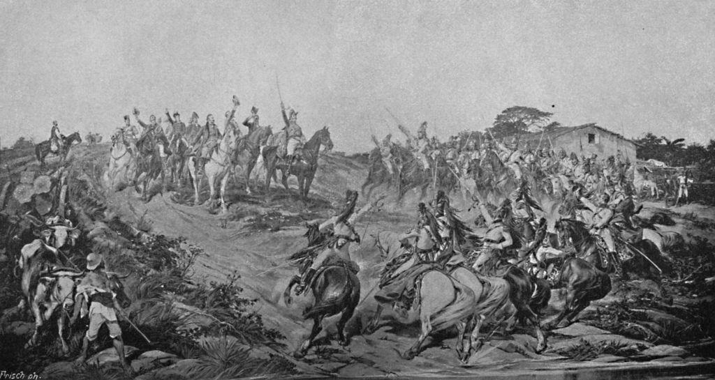 Batalla durante una guerra de independencia.