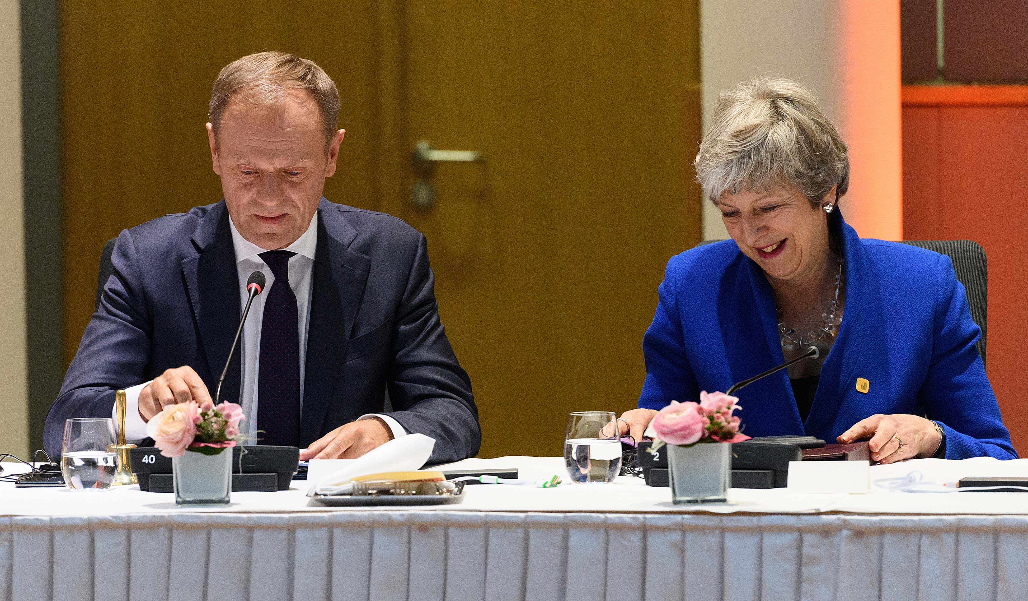 President of the European Council Donald Tusk and Prime Minister Theresa May attend a round table meeting in Brussels, Belgium.