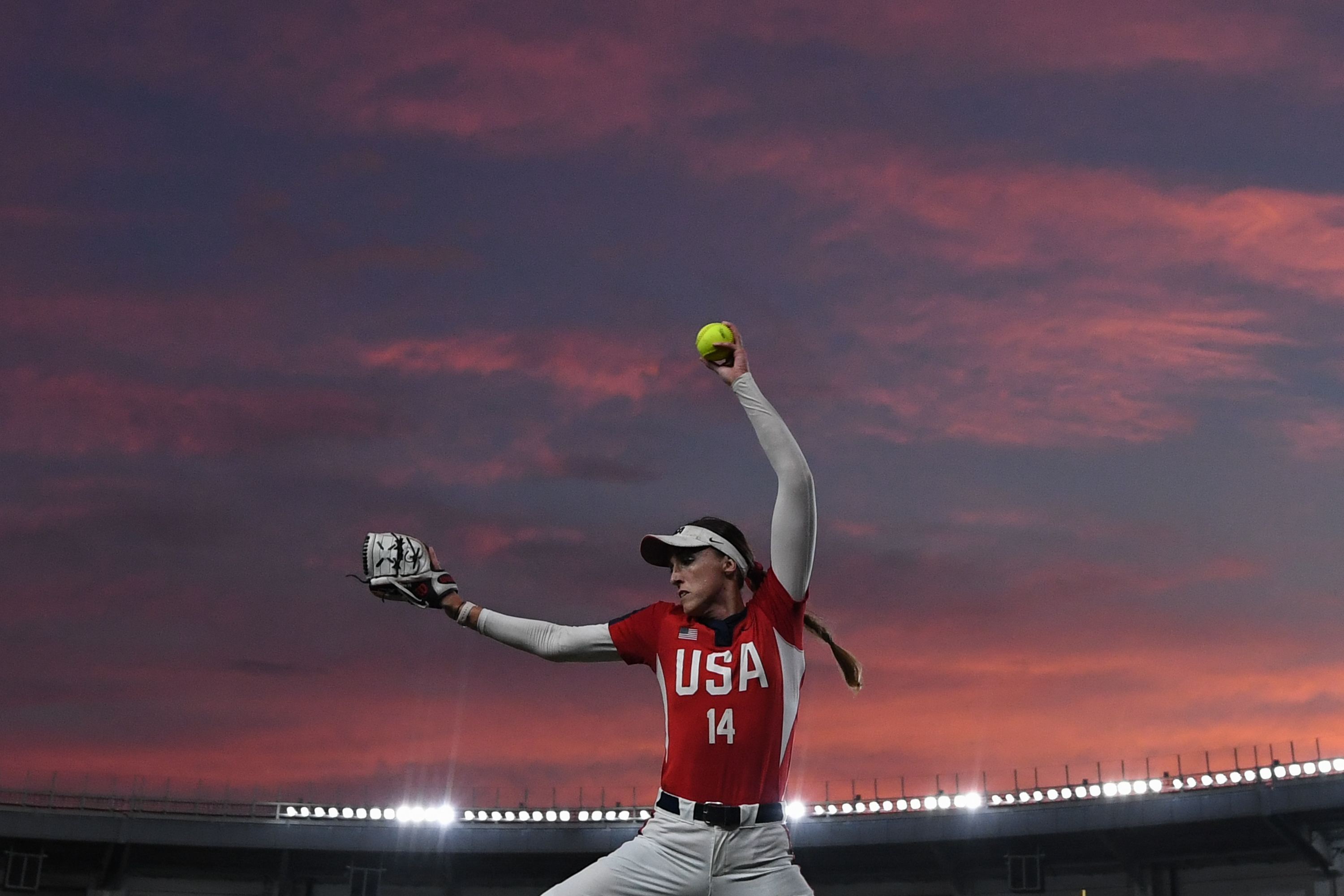 Monica Cecilia Abbott #14 of the USA warms up prior to a match between Japan and United States at the WBSC Women's Softball World Championship, 11 August 2018, in Chiba, Japan.