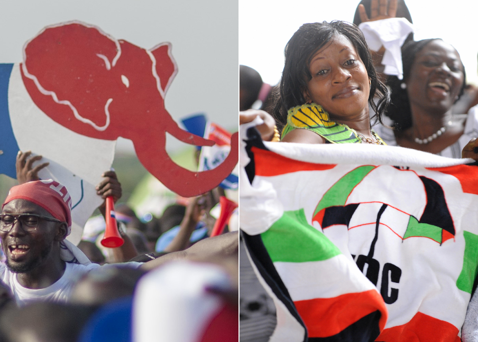 NPP elephant symbol an and NDC umbrella symbol in Ghana