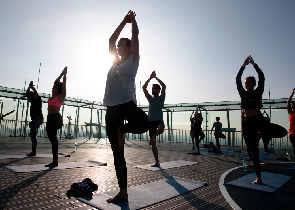 People practicing yoga.