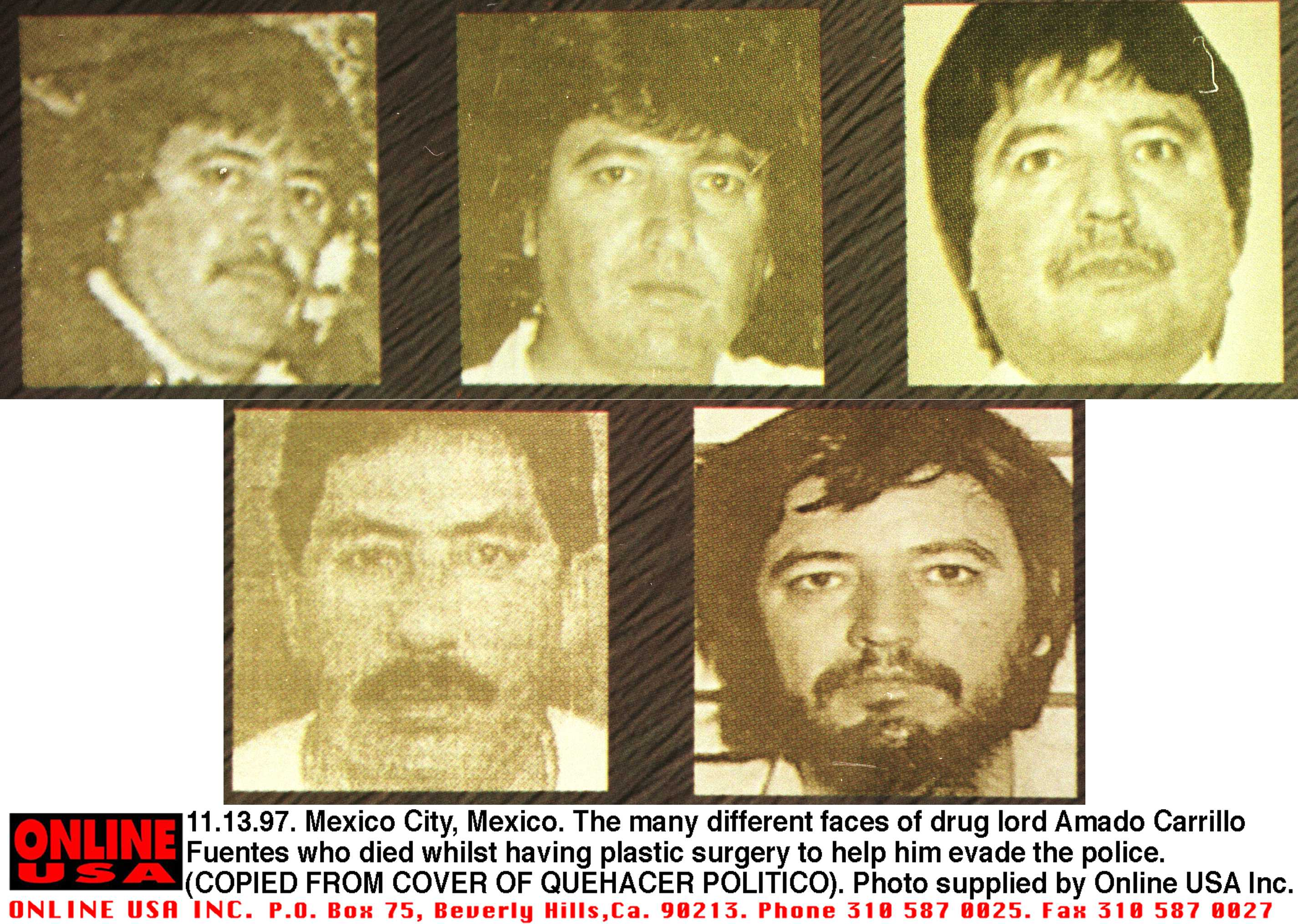 Wanted photos of Amado Carrillo Fuentes