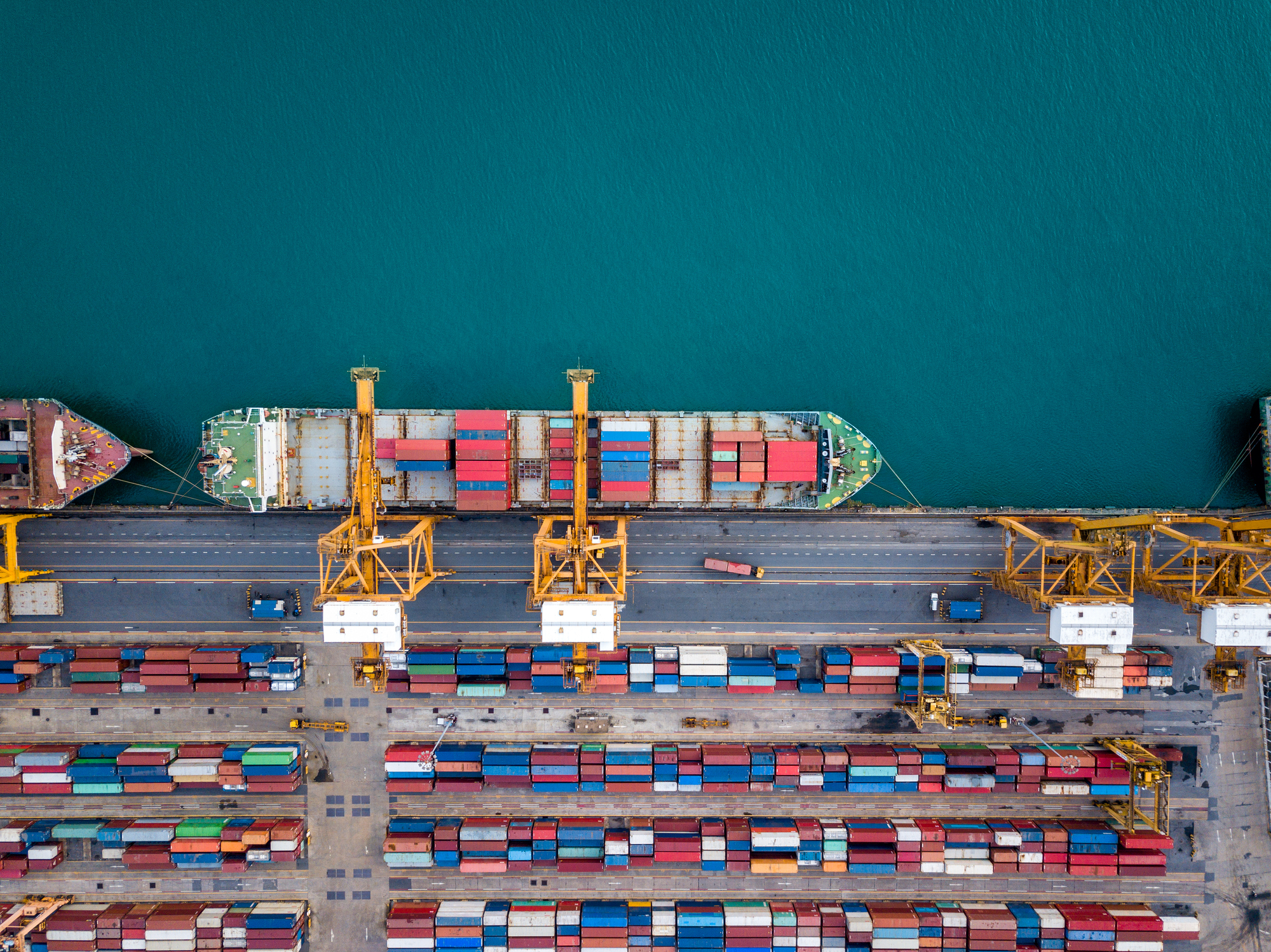 Shipping containers and cranes