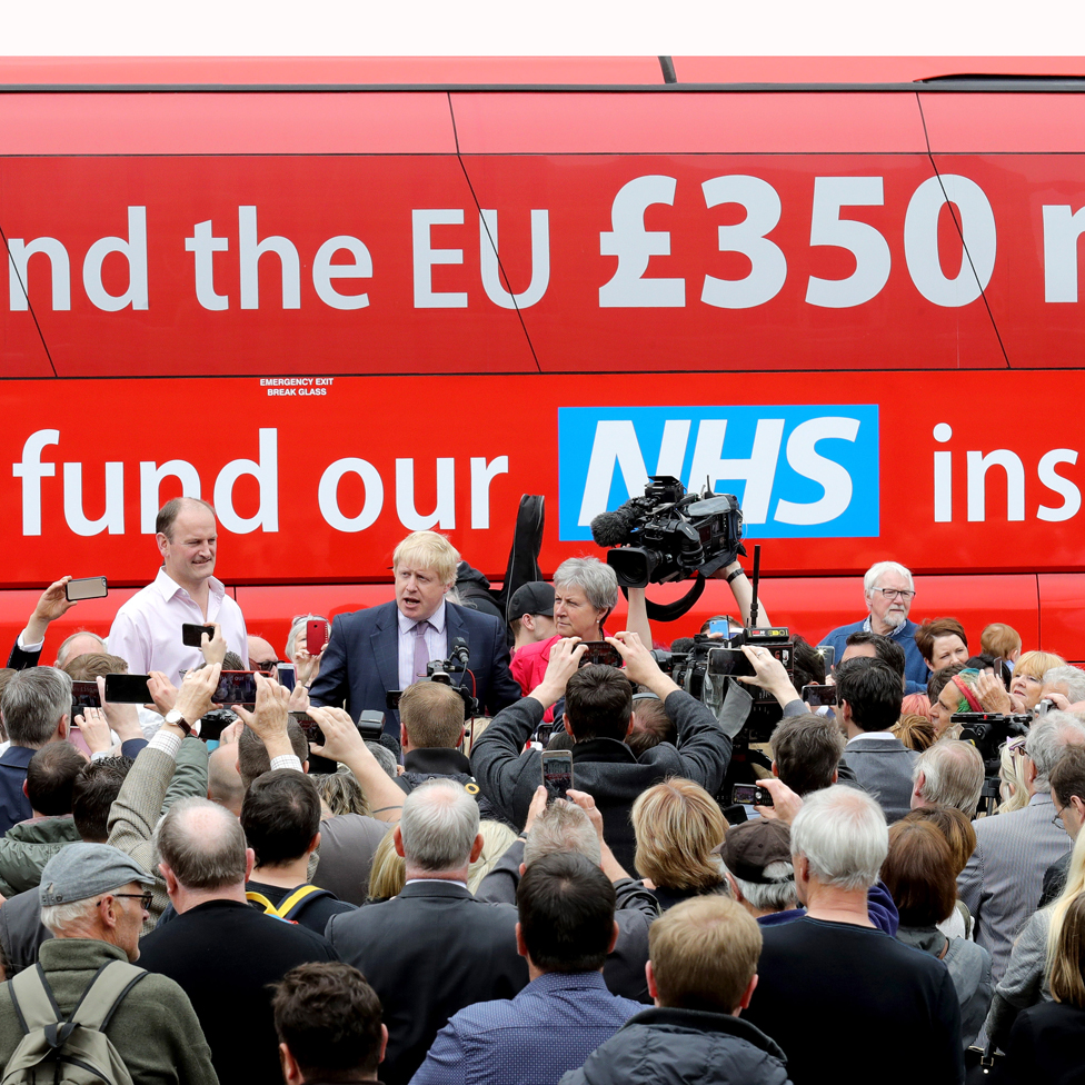 Boris Johnson standing in front of crowds next to the NHS Brexit bus