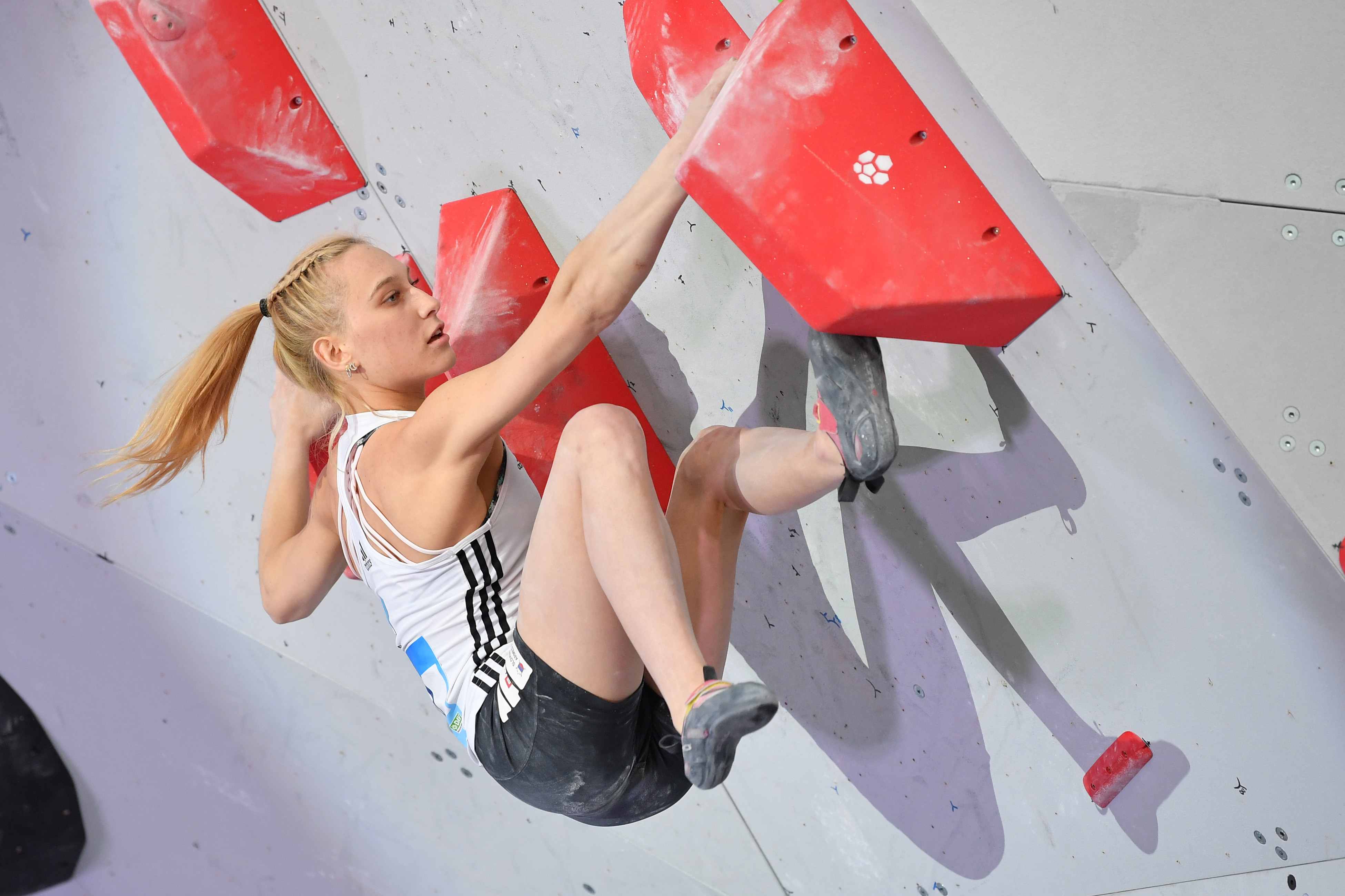 Janja Garnbret of Slovenia competes during the International Federation of Sports Climing (IFSC) World Cup at Olympiastadion on May 19, 2019 in Munich, Germany.