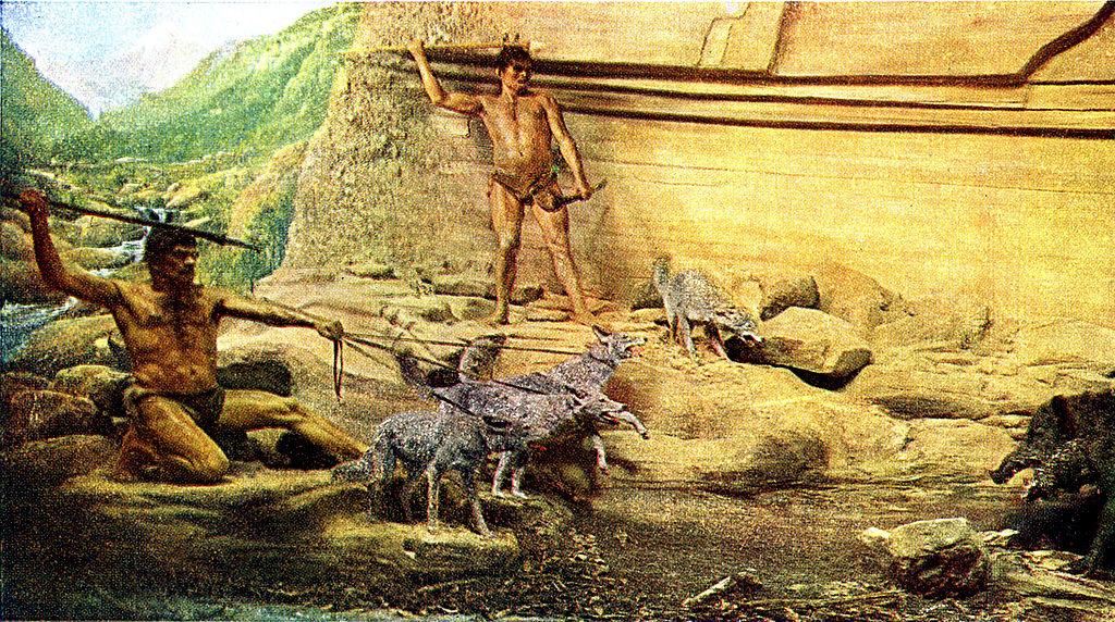 Hombres en la prehistoria.
