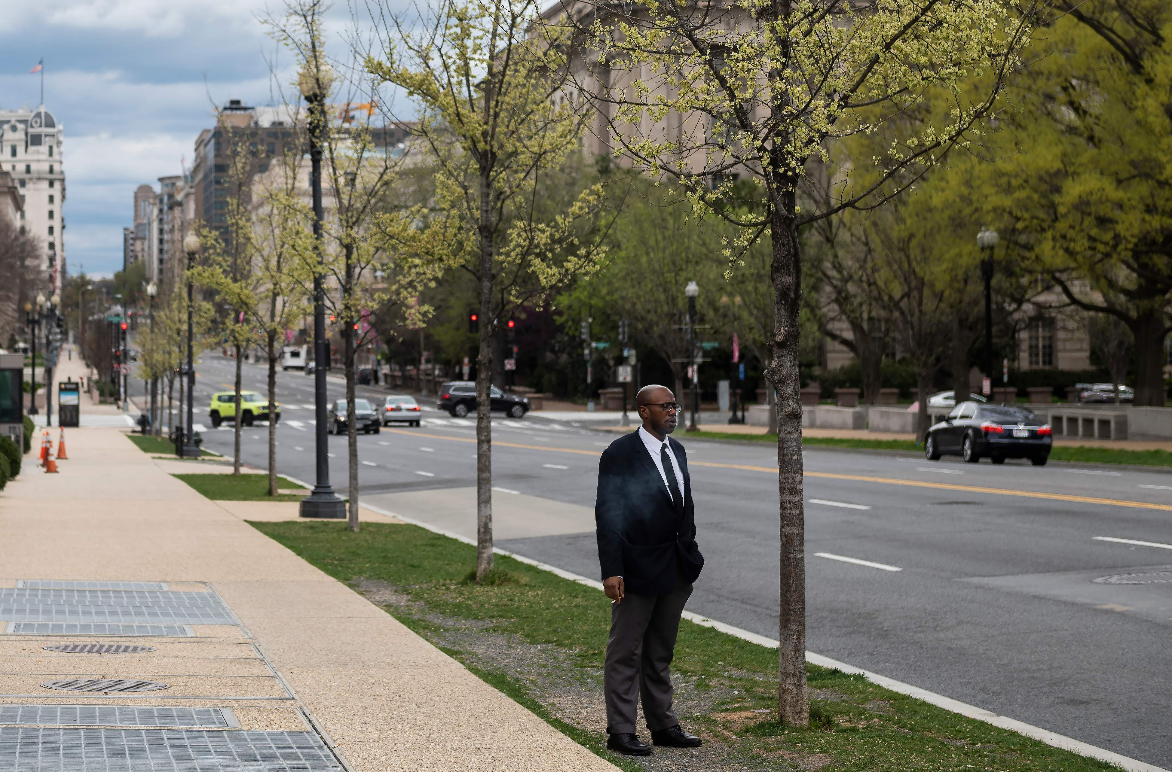 Man outside the African American museum in Washington DC