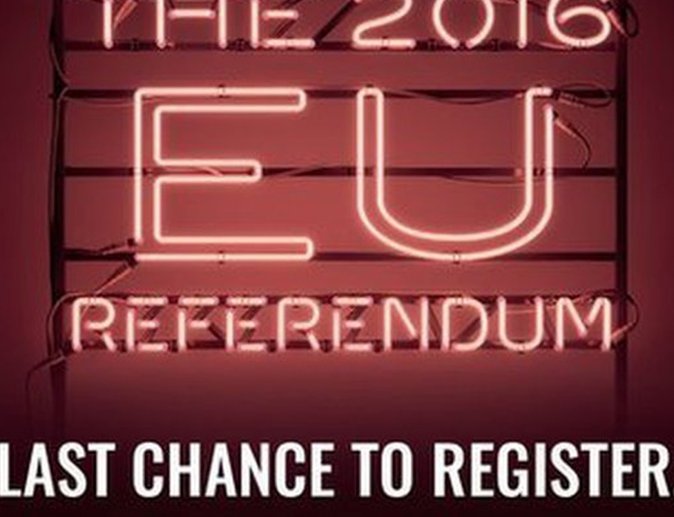 An advertisement urging people to register to vote for the 2016 referendum
