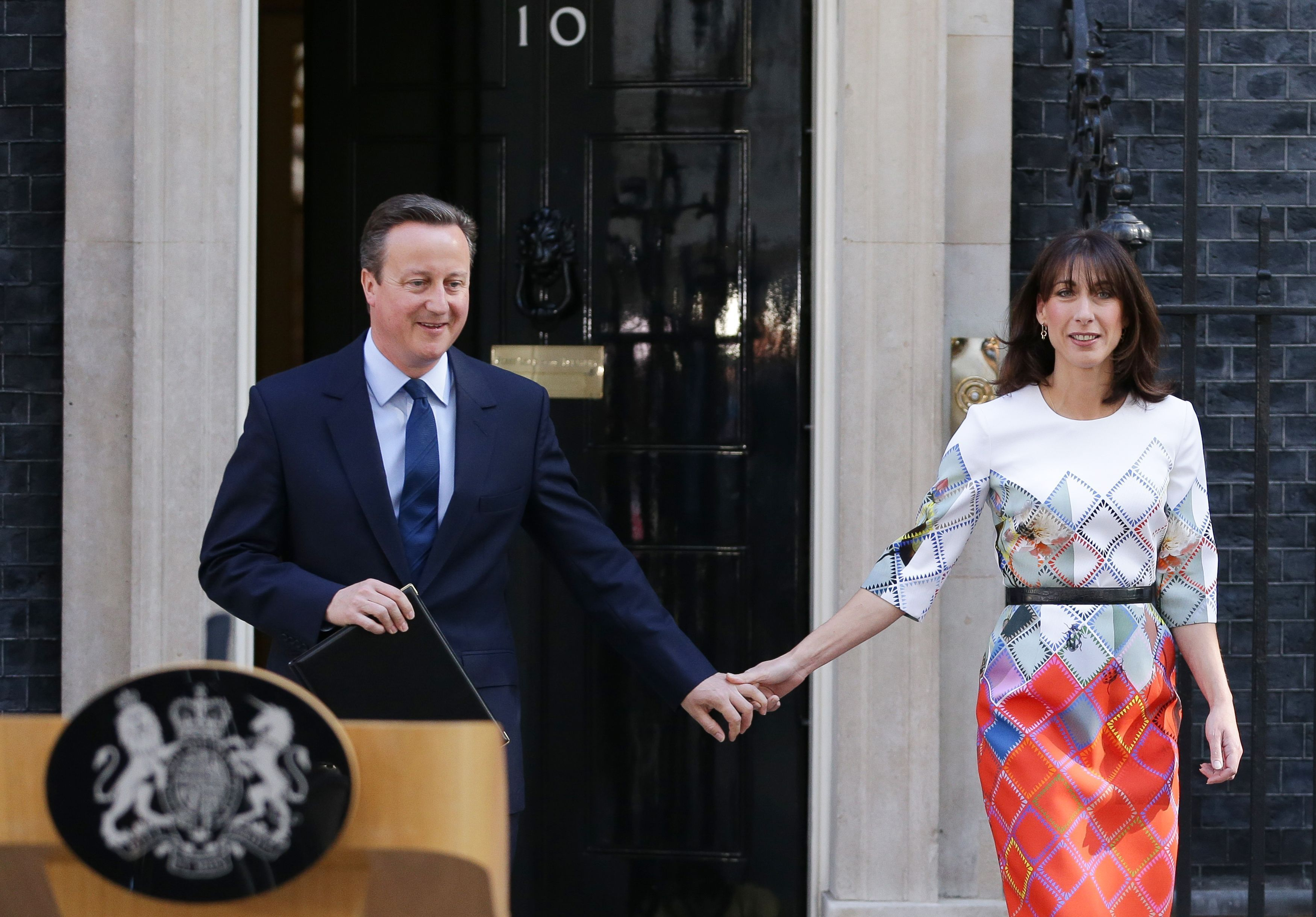 David Cameron and wife Samantha outside Downing Street