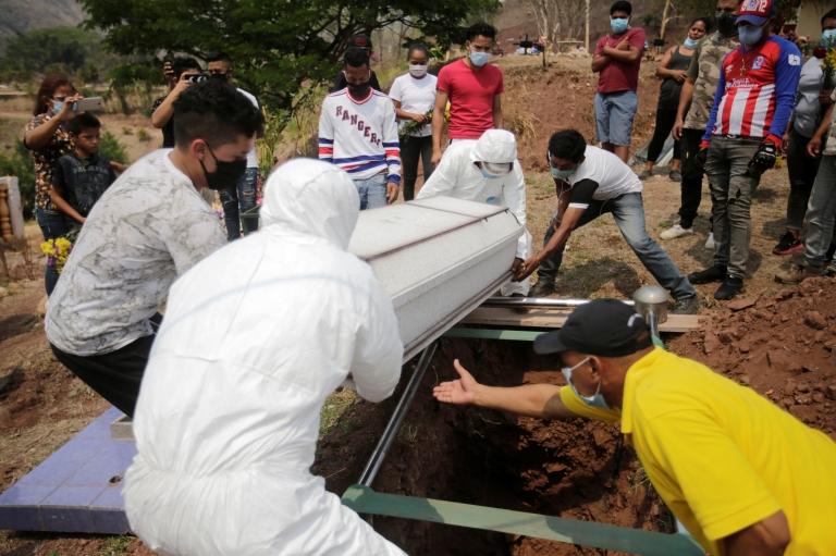 Entierro de víctima de covid-19 en Honduras.