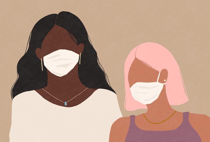 Una ilustración de dos muchachas con mascarillas.