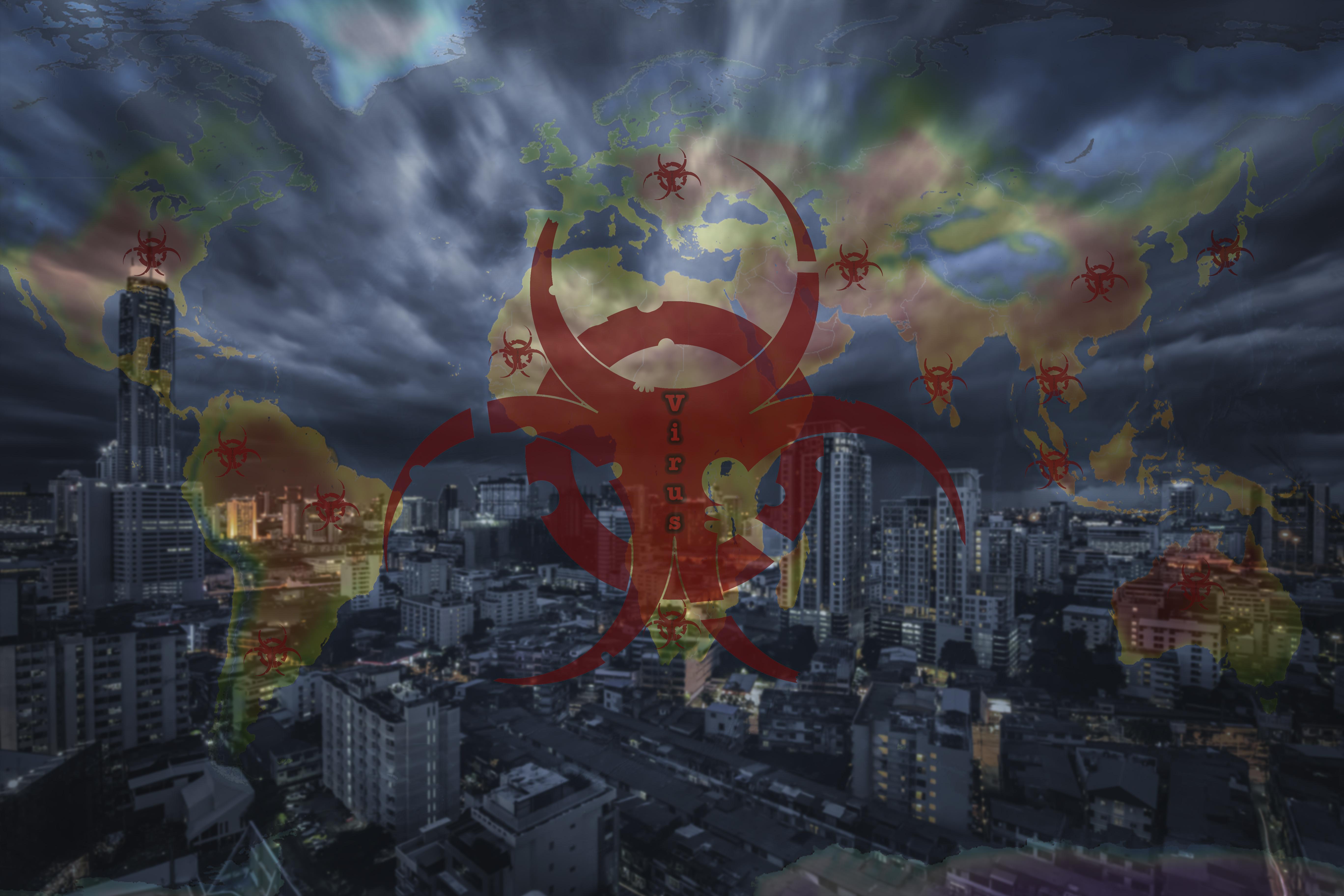 Ilustración de una ciudad atacada por un virus.