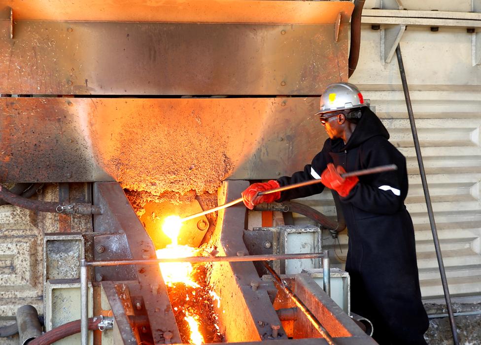 A platinum miner in Zimbabwe