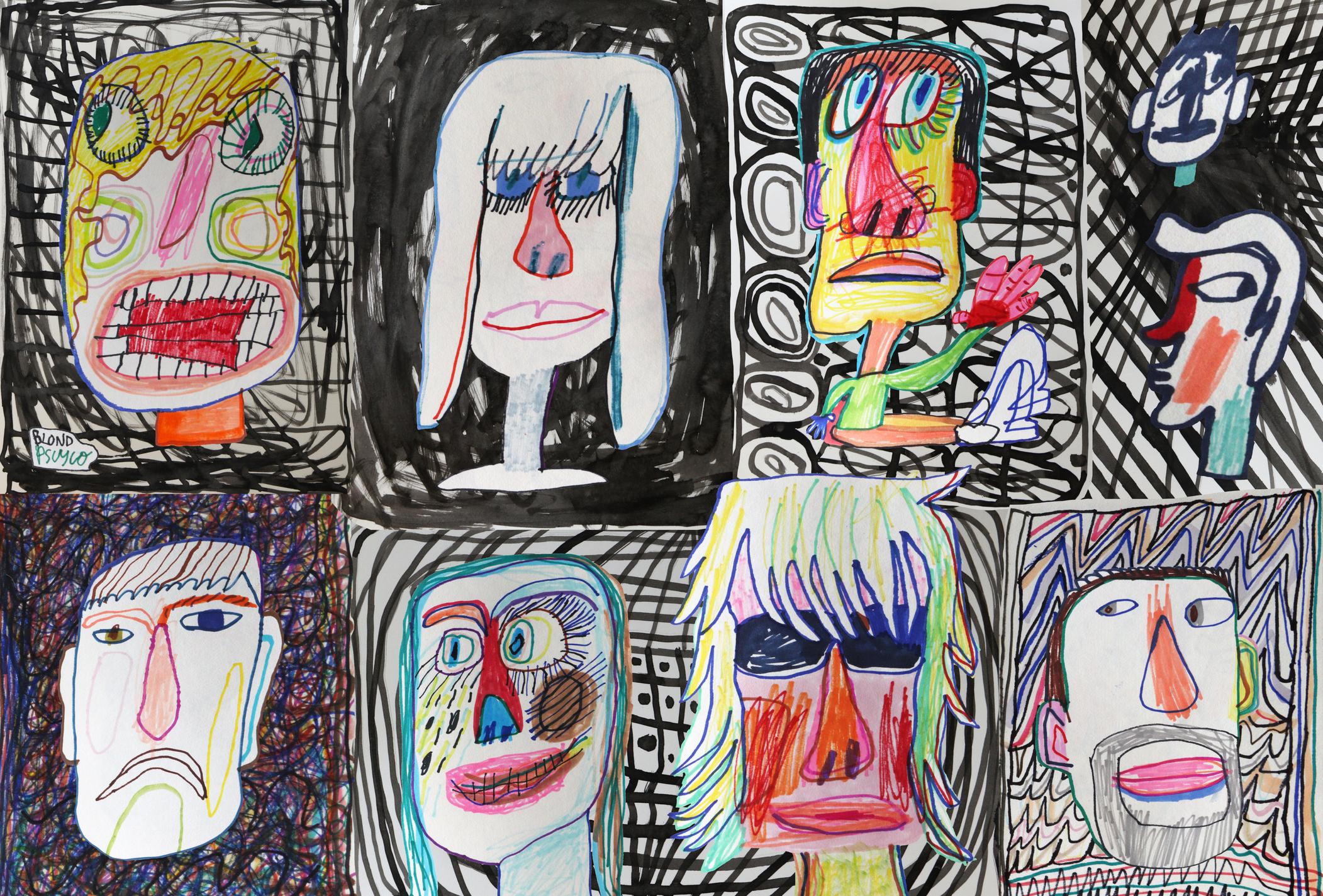 Ilustración infantil de rostros.