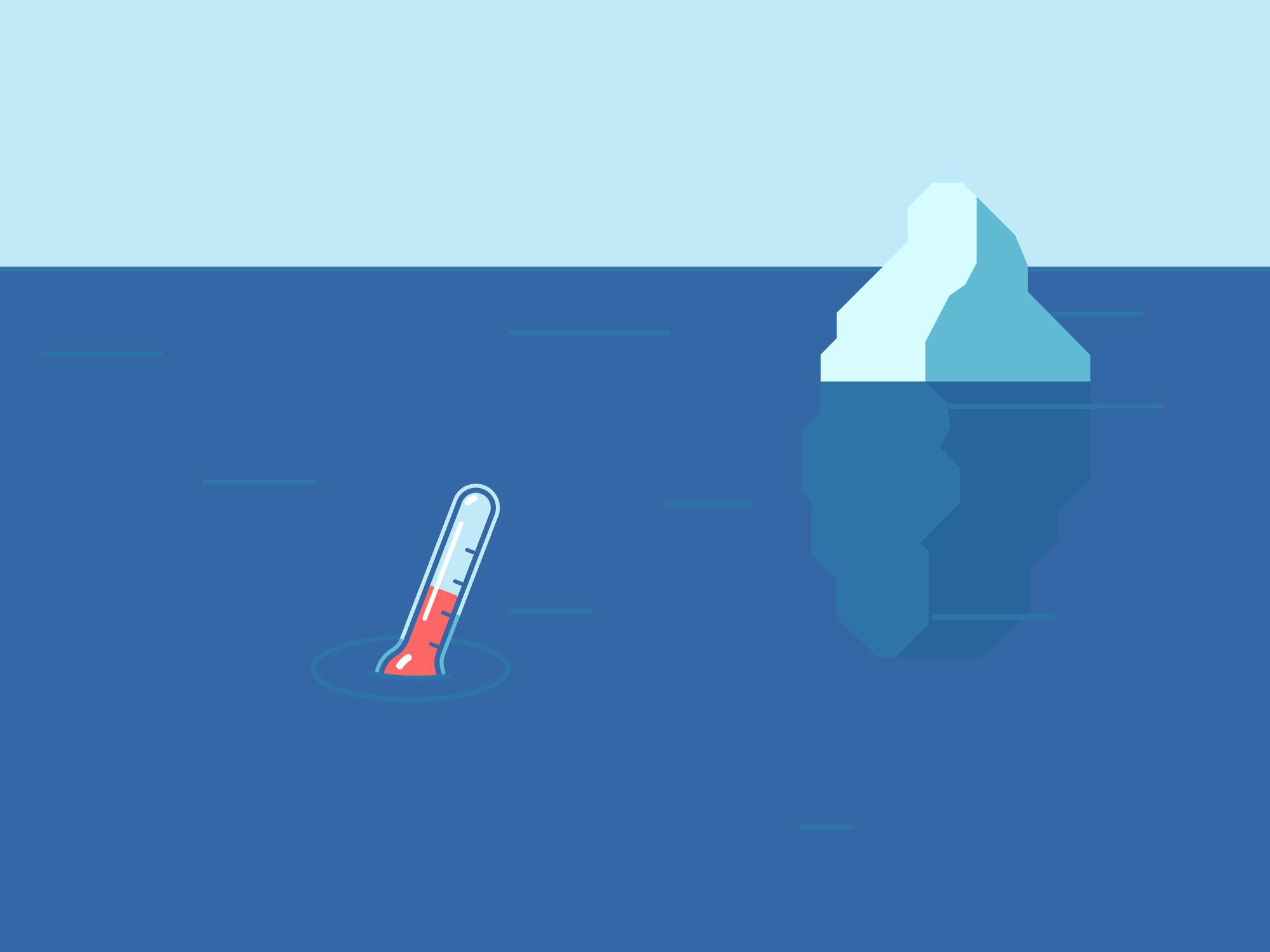 Un termómetro en el agua con un iceberg detrás.