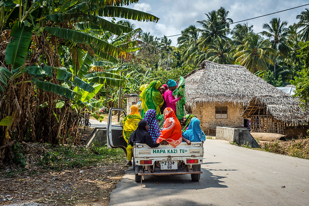 Women on a truck in Zanzibar, Tanzania