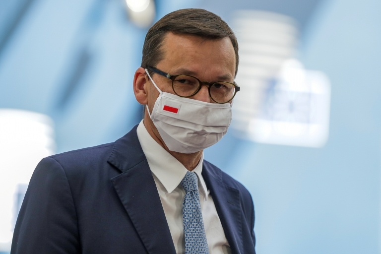 Polish Prime Minister Mateusz Morawiecki arrives for the fourth day of the European Council meeting in Brussels, Belgium, July 20, 2020
